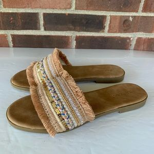 NWOT Bamboo fringe embellished slip on sandals